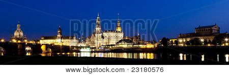 An image of the famous city Dresden by night in Germany