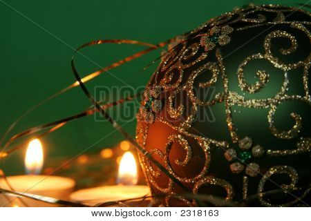Christmas Candles And Ball Ornaments