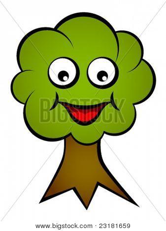 vector cartoon smiling face tree