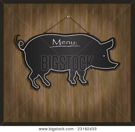 raster Blackboard pig restaurant menu card