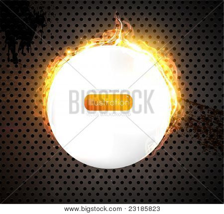 Speaker grill texture with fire. Vector Illustration