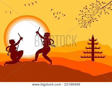Garba Dancer in sunset, Shadow Art