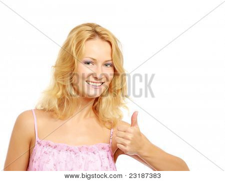 Portrait of beautiful happy blonde girl showing thumb up