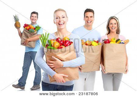 Smiling shopping people. Isolated over vhite background.
