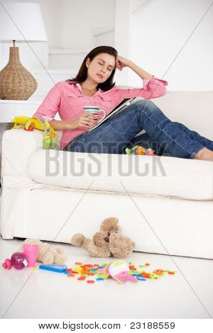 Exhausted mother enjoying a rest