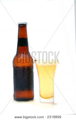 Long Neck Beer Bottle And Glass