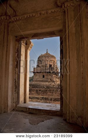 Small Bundela Cenotaph Seen From Inside Other Mausoleum In India's Orchha.