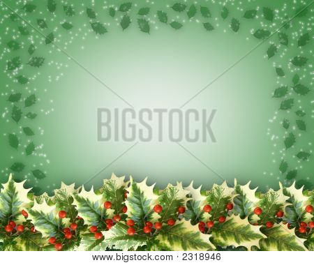 Christmas Holly Leaves Border Design