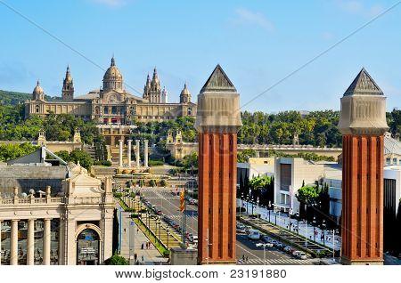 BARCELONA, SPAIN - AUGUST 18: Palau Nacional de Montjuic and Fira on August 18, 2011 in Barcelona, Spain. This area was built to house 1929 International Exposition