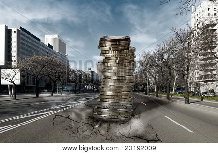 Pile of Euros falling down into the city: Economic and Financial crisis concept