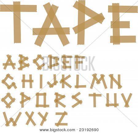 Adhesive tape alphabet