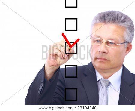 man choosing one of five options