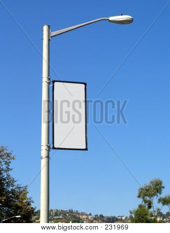 Blank Banner On Light Post