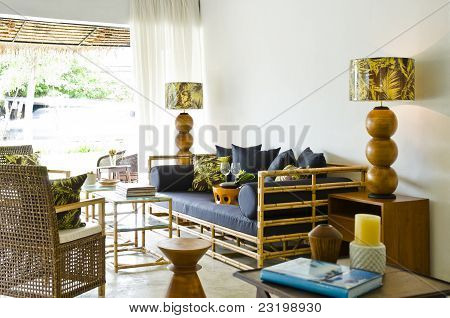 Contemporary Bamboo Sofa Seating Area