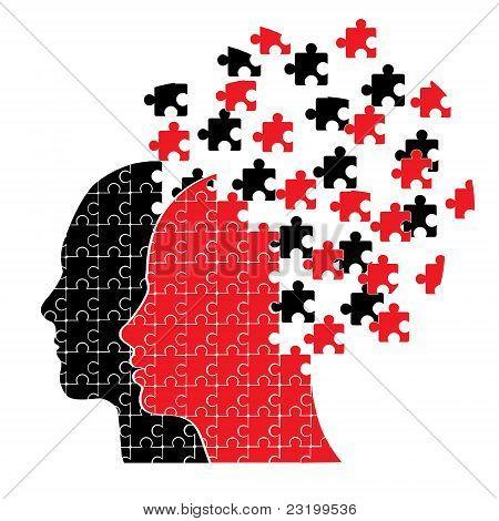 Puzzle head couple vector