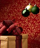 Christmas Present With Decorative Xmas Bubbles