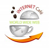 stock photo of internet-cafe  - Abstract business globe in shape of a coffee cup with arrow and coffee beans  - JPG