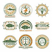 Great Fishing Tournament Vintage Isolated Label Vector Illustration. Good Catch Symbol. Big Fish Ico poster