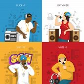 Rap Music Popular Singers Performance 4 Flat Colorful Background Icons Square With Black Mc Rapper V poster