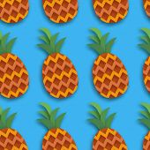Pineappple Seamless Pattern. Anana In Paper Cut Style. Origami Healthy Food On Blue. Summertime. Vec poster