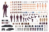 Elegant Man Dressed In Business Or Smart Suit Creation Set Or Diy Kit. Collection Of Body Parts, Sty poster