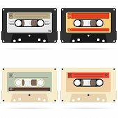Retro Audio Cassette, A Set Of Retro Audio Cassettes. A Realistic Audio Cassette. Flat Design, Vecto poster
