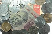 picture of mahatma gandhi  - India Rupees coins and notes of different value - JPG