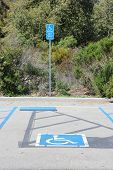 Disabled Parking Spot - Transportation Infrastructure Road Markings. Sign With Info About Fine. poster