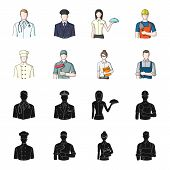 Cook, Painter, Teacher, Locksmith Mechanic.profession Set Collection Icons In Black, Cartoon Style V poster