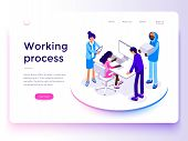 People Work In A Team And Achieve The Goal. Business Processes And Office Situations. Landing Page T poster