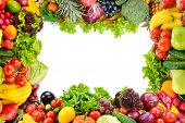 Collage of fruits and vegetables as frame isolated on white. Copy space poster