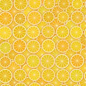 Orange Slices Simple Seamless Pattern With A Piece Of Orange Citrus Fruit On An Orange Background. V poster