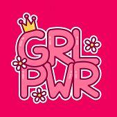 Feminist Slogan Girl Power. Vector Flat Cartoon Illustration Icon. Print Design For T-shirt, Card poster