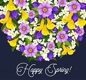 Happy Spring Greeting Card Of Springtime Wishes And Floral Bunch Spring Seasonal Holiday. Vector Bou poster
