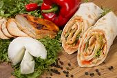 Wrap Sandwich With Chicken, Bell Pepper And Mozzarella poster