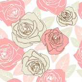 image of red rose flower  - Valentine seamless pattern with rose design - JPG