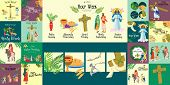 Set For Christianity Holy Week Before Easter, Lent And Palm Or Passion Sunday, Good Friday Crucifixi poster