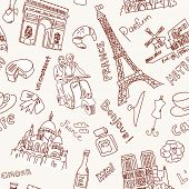 stock photo of moulin rouge  - Sightseeing in Paris doodles - JPG