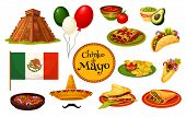 Cinco De Mayo Mexican Holiday Traditional Symbol With Festive Food And Flag. Latin American Fiesta P poster