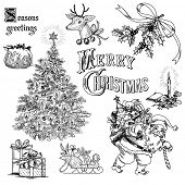 stock photo of christmas-present  - Vintage christmas doodles - JPG