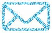 Envelope Composition Of Dollar Symbols. Vector Dollar Symbols Are United Into Envelope Composition. poster