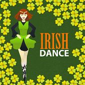 Irish Dance Studio Template. Composition With Irish Dancer And Clover In Cartoon Style For Fliers Ba poster