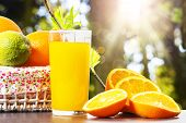 Fresh Orange Juice In Glass Beaker, Slices Of Sliced Oranges And Basket On Background Of Spring Gree poster