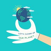 Mother Earth Day Concept. Slogan Clean Up Planet From Plastic Pollution. Stop Polluting The Earth Sy poster