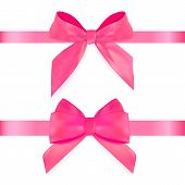 Decorative Pink Bow With Ribbon Isolated On White. 3d Realistic Vector Illustration. Eps10 poster
