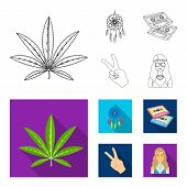 Amulet, Hippie Girl, Freedom Sign, Old Cassette.hippy Set Collection Icons In Outline, Flat Style Ve poster