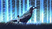 Little Girl With Her Big Crow Standing In Blue Forset With Glowing Trees, Digital Art Style, Illustr poster