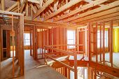 New Home Construction With Wooden House Frame Building Wooden Building Wooden Construction poster