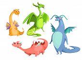 Vector Cartoon Cute Magic Dragons Set. Blue Red Green Orange Color Funny Mythological Creatures, Fai poster