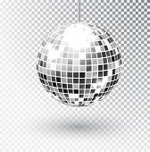 Mirror Glitter Disco Ball Vector Illustration. Night Club Party Light Element. Bright Mirror Silver  poster